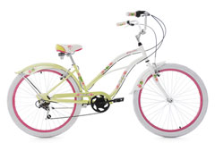 Beachcruiser 26'' Paradiso blanc-vert 6 vitesses TC 42 cm KS Cycling