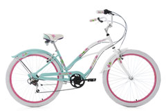 Beachcruiser 26'' Paradiso blanc-bleu 6 vitesses TC 42 cm KS Cycling