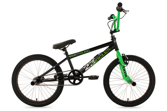 BMX freestyle 20'' Circles noir-vert V Brake KS Cycling